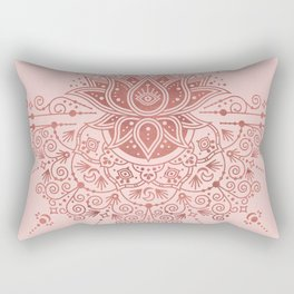 Sacred Lotus Mandala – Rose Gold & Blush Palette Rectangular Pillow