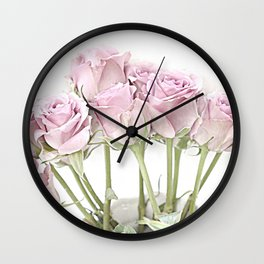 Shabby Chic Pastel Pink Roses Wall Clock
