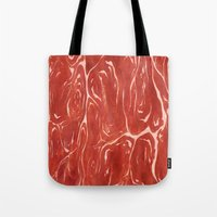 meat Tote Bags featuring Meat! by Tiffany Chan Illustration