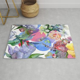 Contemporary Colorful Watercolor Pastel Floral Print Rug