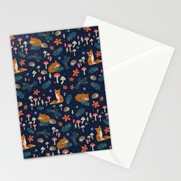 Fox and Hedgehog in Toadstool Woods In Blue Stationery Cards