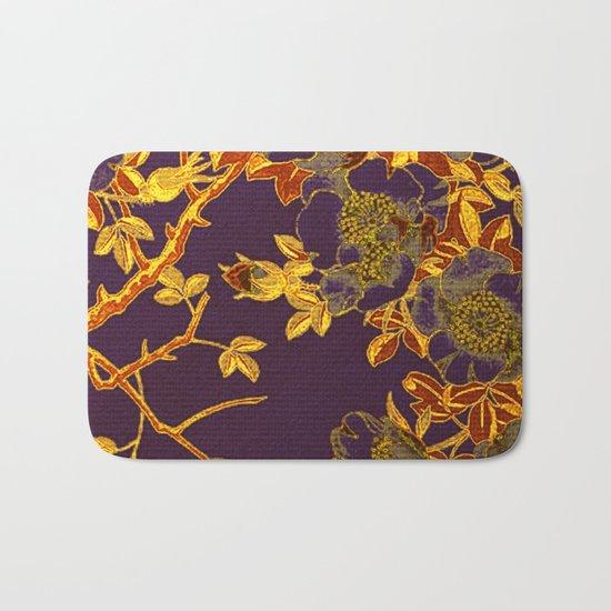 rich floral on purple Bath Mat