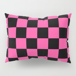 Black and Pink Checkerboard Pattern Pillow Sham