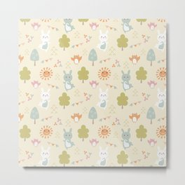 Frolicking in the Forest - Muted Pastel Tones Metal Print