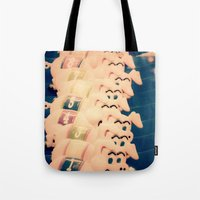 pigs Tote Bags featuring Carnie Pigs by maybesparrowphotography