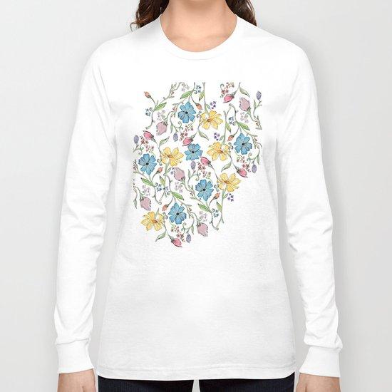 Spring flowers pattern - watercolor Long Sleeve T-shirt