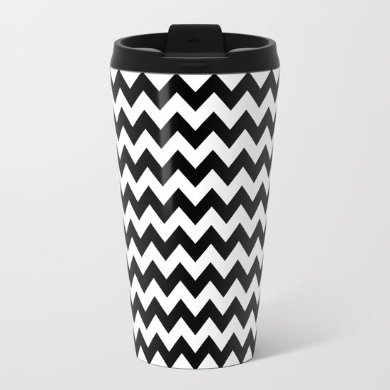 Black White Chevron Metal Travel Mug