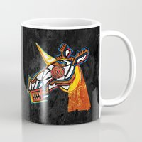 basquiat Mugs featuring Basquiat Skull Unicorn by That's So Unicorny