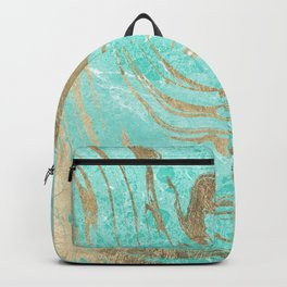 Modern faux gold turquoise white elegant marble Backpack