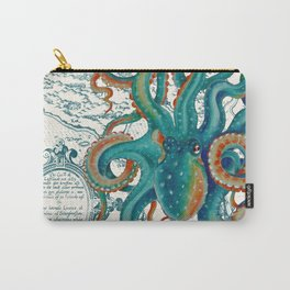 Teal Octopus Vintage Map Watercolor Carry-All Pouch