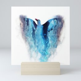 Blue bird in flight Mini Art Print