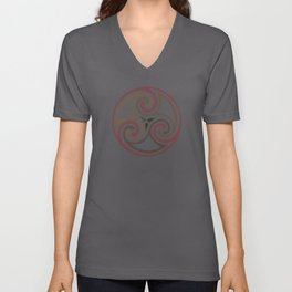St. Patrick's Day Celtic Red Mandala #5 Unisex V-Neck