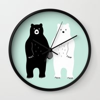 gray Wall Clocks featuring Gray by Andy Westface