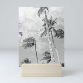 Travel Photography 'Sea breeze Palmtrees' photo art made in Caribbean Aruba. B&W Art print. Mini Art Print