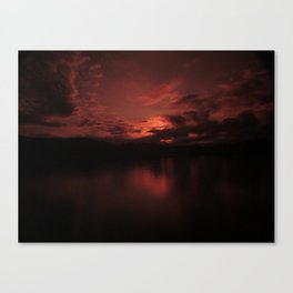 Dark Red Sunset in Montana, Water Reflection, Hues of Red, Sailor's Delight Canvas Print