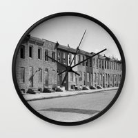 baltimore Wall Clocks featuring East Baltimore by Andrew Mangum
