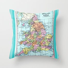 Vintage Map  of England and Wales Throw Pillow