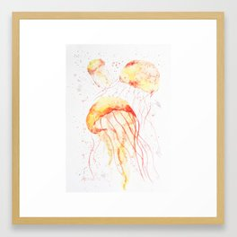 """""""Sunny jellyfish"""" watercolor painting. Framed Art Print"""
