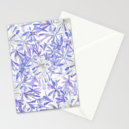 blue purple African lily watercolor painting Stationery Cards
