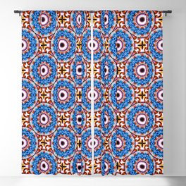 Circle and cross - White, blue, orange- Mandala Fractal Blackout Curtain