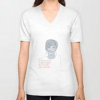 jennifer lawrence V-neck T-shirts featuring Illustration Jennifer Lawrence 'Fries' by Katie Munro
