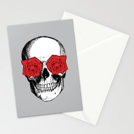 Skull and Roses | Skull and Flowers | Vintage Skull | Grey and Red | Stationery Cards