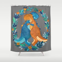 Dino Hugs Shower Curtain