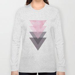 Pink and Grey Geometric Art Long Sleeve T-shirt