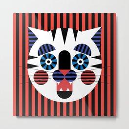 Stripey Cat Metal Print