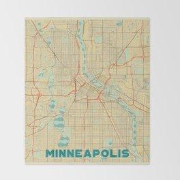 Minneapolis Map Retro Throw Blanket
