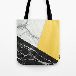 Black and White Marble with Pantone Primrose Yellow Tote Bag
