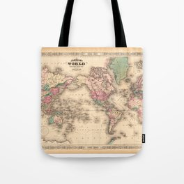 1861 World Map - Johnson's World on Mercators Projection Tote Bag
