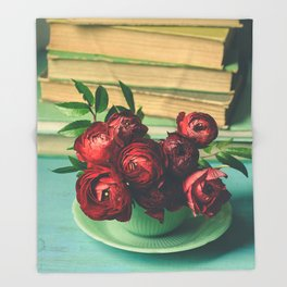 Books and Flowers Throw Blanket