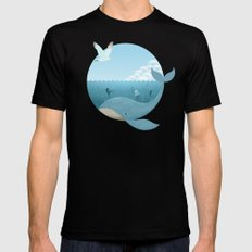 Whale & Seagull (US and THEM) Black Mens Fitted Tee MEDIUM