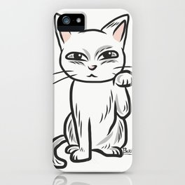 White funny cat iPhone Case