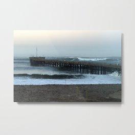 Ventua Ocean Wave Storm Pier Metal Print