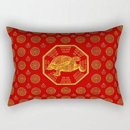 Golden Tortoise / Turtle Feng Shui on red Rectangular Pillow