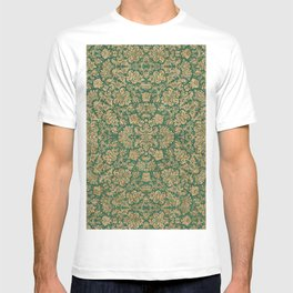 Antique Gold and Green Brocade Pattern T-shirt