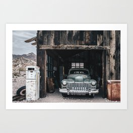Old vintage car truck abandoned in the desert Art Print