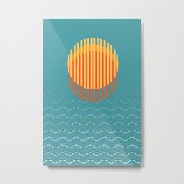 Minimalist Sunset Over Ocean, Vacation Print, Sun Set Poster, Large Printable Photography, Wall Art Metal Print