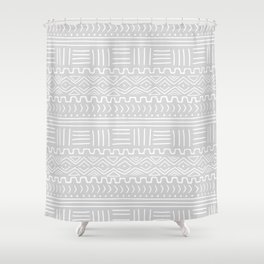 Mud Cloth on Light Gray Shower Curtain
