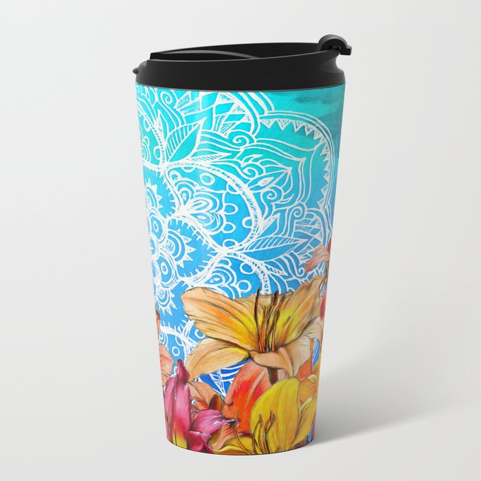 Orange Lilies & White Mandala on Blue Metal Travel Mug