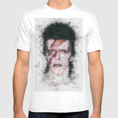 David Bowie Newspaper Style Mens Fitted Tee White MEDIUM