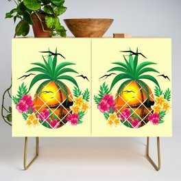 Pineapple Tropical Sunset, Palm Tree and Flowers Credenza