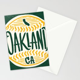 Hand Drawn Baseball for Oakland California with custom Lettering Stationery Cards