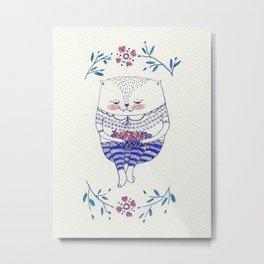 strawberry cat Metal Print