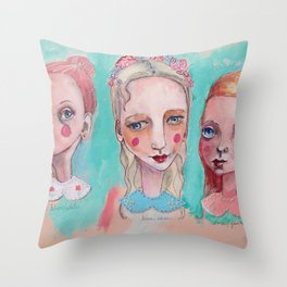 White, Blue and Pink Collared Throw Pillow