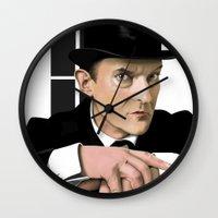 sherlock holmes Wall Clocks featuring Sherlock Holmes by Andy Harrison