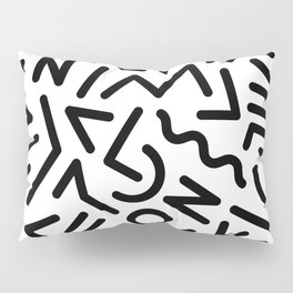 Memphis Pattern Black and White Pillow Sham