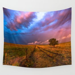 Far and Away - Lone Tree Under Colorful Sky in Oklahoma Panhandle Wall Tapestry